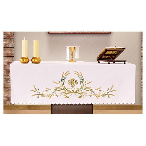 Mantel de altar 165x300 cm bordados verdes y oro y espigas 1