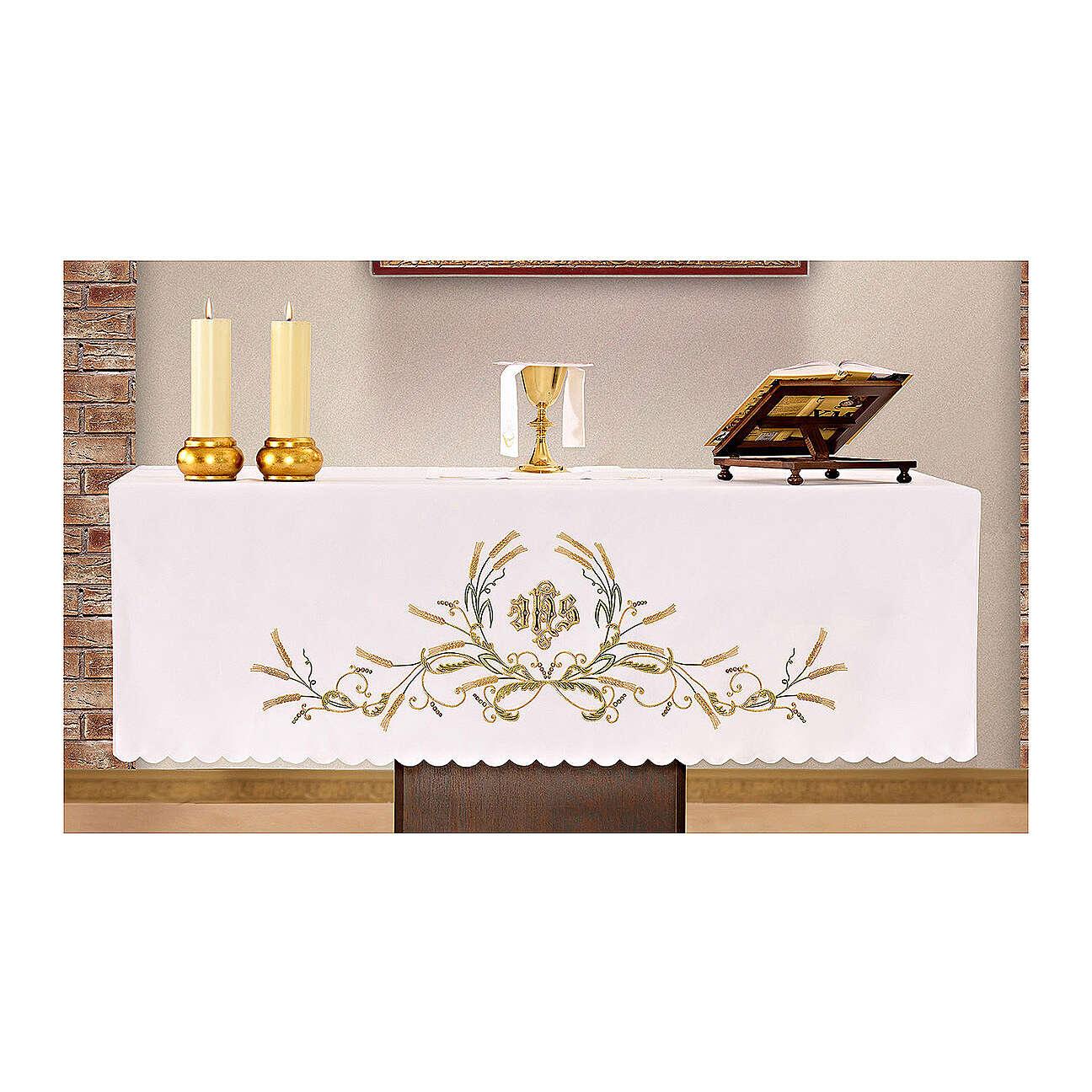 Altar Cloth 165x300cm green & gold Ears of Wheat 4