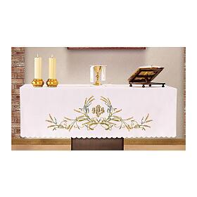 Altar Cloth 165x300cm green & gold Ears of Wheat s1