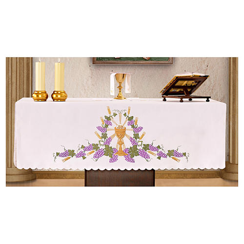Mantel de altar 165x300 cm uva y cáliz JHS 1