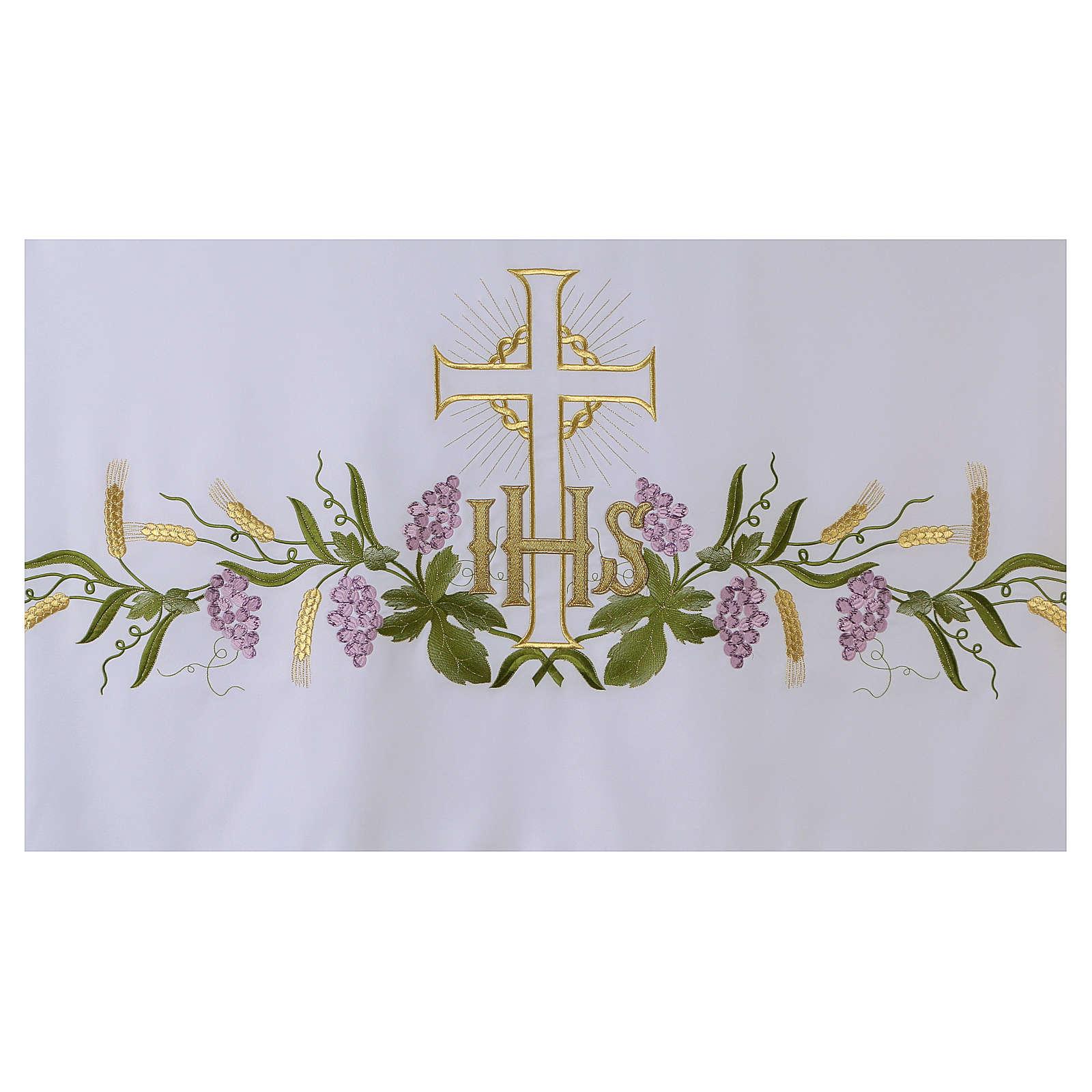 Altartuch 165x300cm IHS Kreuz und Trauben 4