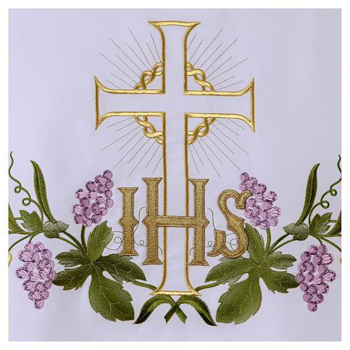 Altartuch 165x300cm IHS Kreuz und Trauben 2