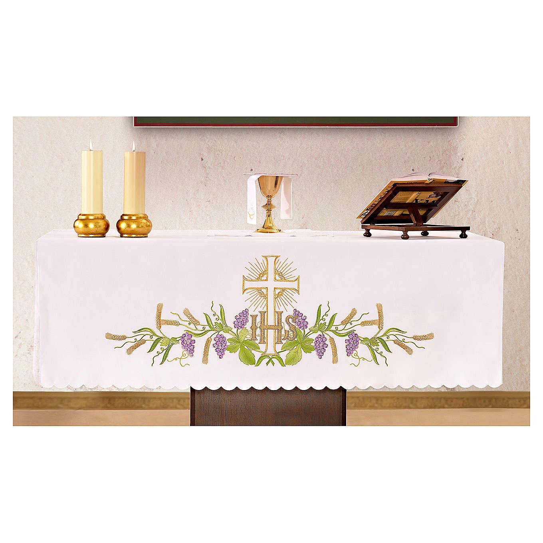 Tovaglia per altare 165x300 cm pianta vite croce 4