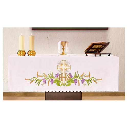 Tovaglia per altare 165x300 cm pianta vite croce 1