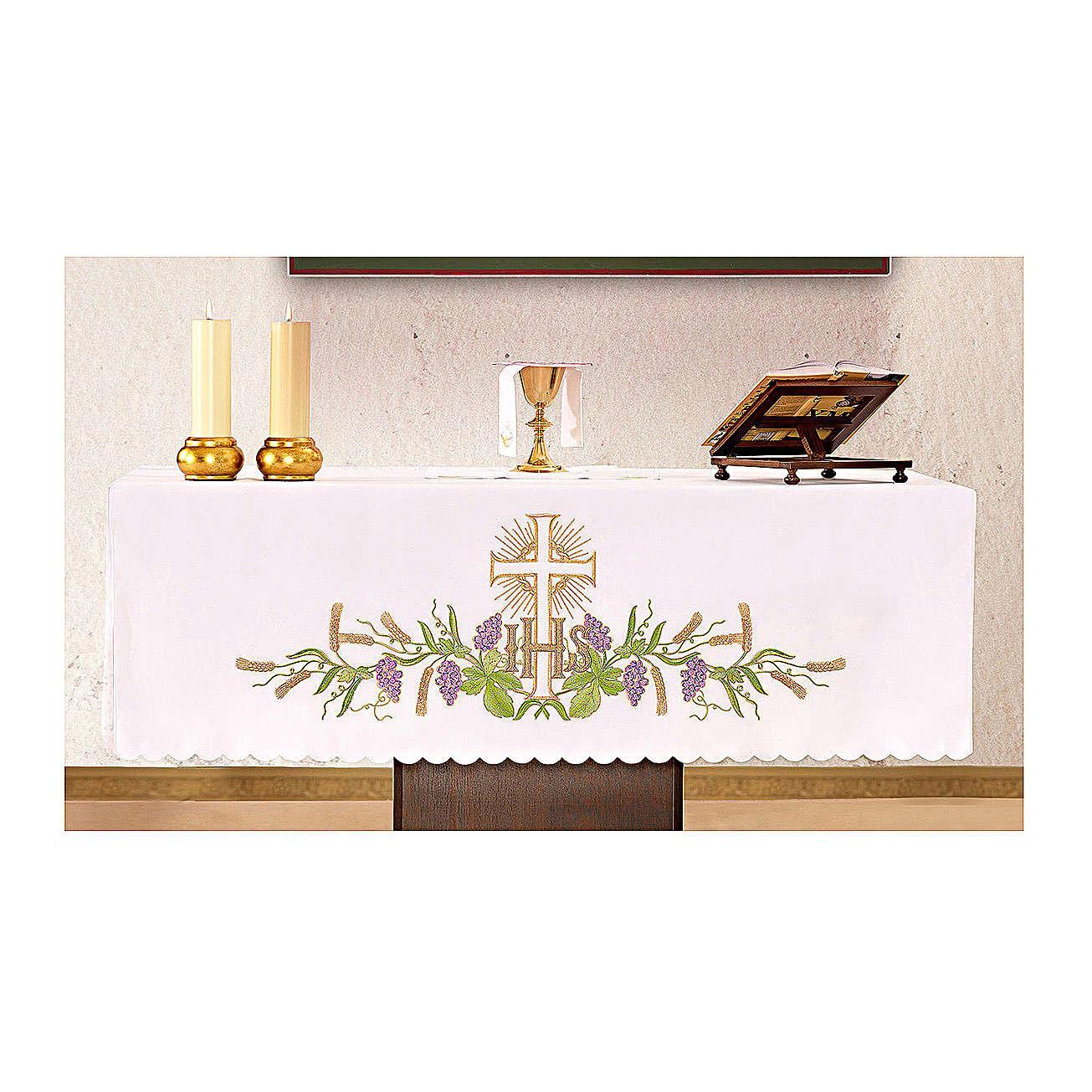 Obrus na ołtarz 165x300 cm winorośl kłosy krzyż 4