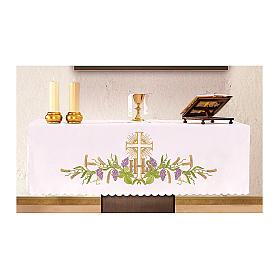 Obrus na ołtarz 165x300 cm winorośl kłosy krzyż s1