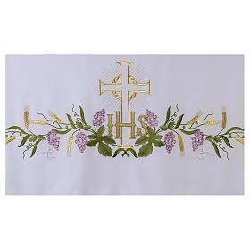 Obrus na ołtarz 165x300 cm winorośl kłosy krzyż s4