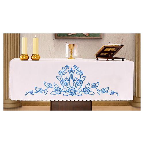 Nappe d'autel 165x300 cm fleurs bleues initiales mariales 1