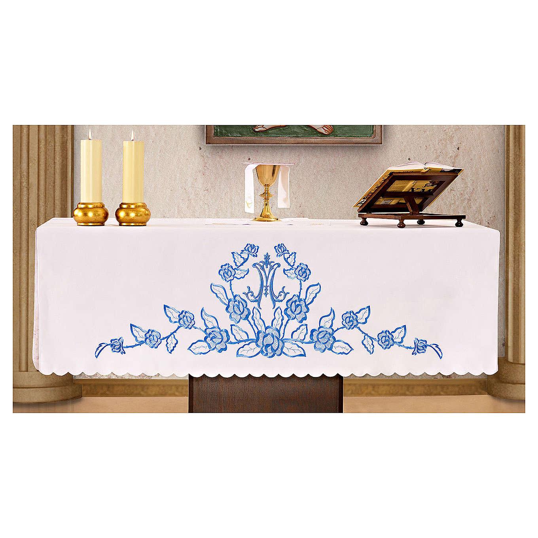 Toalha para altar 165x300 cm flores azuis iniciais de Maria 4