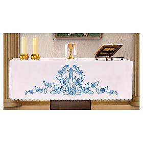 Toalha para altar 165x300 cm flores azuis iniciais de Maria s1