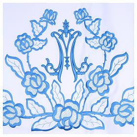 Toalha para altar 165x300 cm flores azuis iniciais de Maria s2