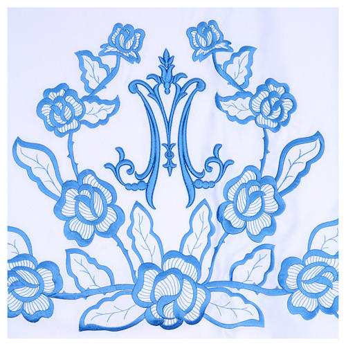 Toalha para altar 165x300 cm flores azuis iniciais de Maria 2