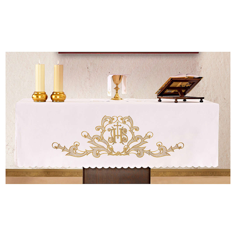 Tovaglia per altare 165x300 cm finiture ricami dorati JHS 4