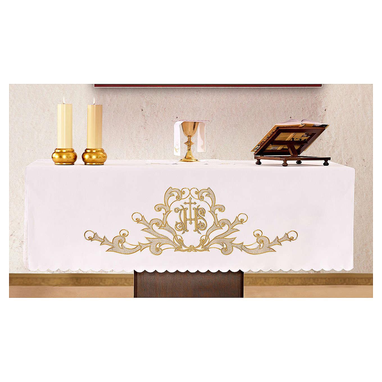 Obrus na ołtarz 165x300 cm wykończenie haft złoty JHS 4