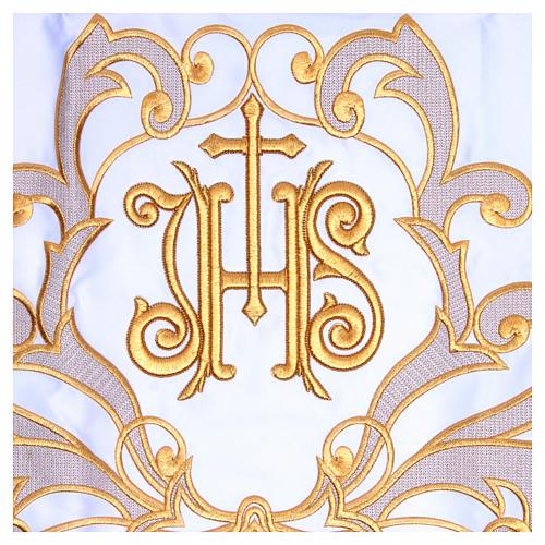 Obrus na ołtarz 165x300 cm wykończenie haft złoty JHS 2