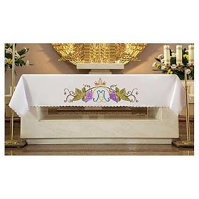 Tovaglia per altare 165x300 cm foglie vite e Santissimo Nome di Maria s1