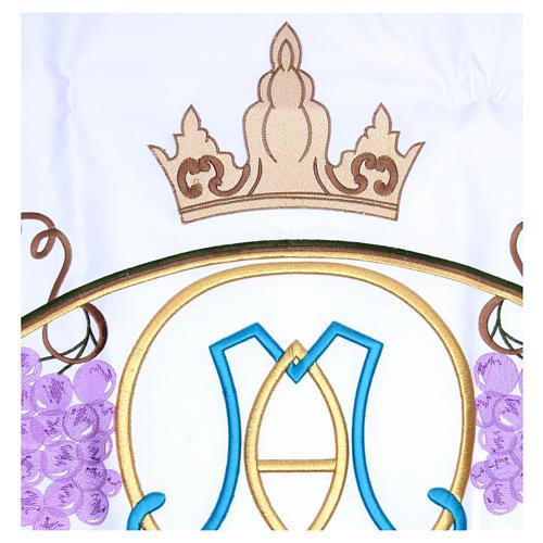 Toalha para altar 165x300 cm folhas videira e Santíssimo Nome de Maria 2