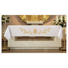 Tovaglia per altare 165x300 cm ricami dorati stile barocco s1