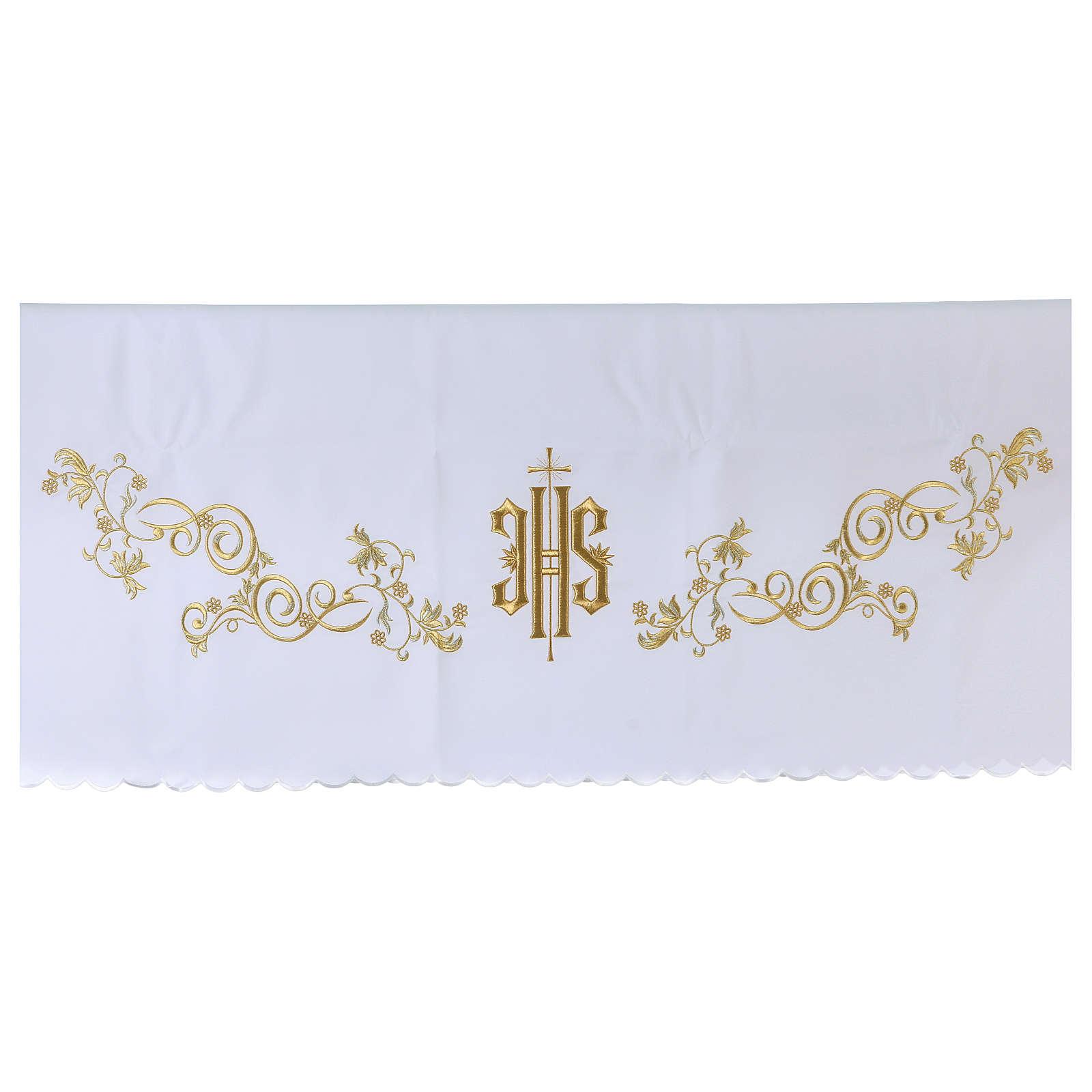 Toalha altar 165x300 cm bordado dourado estilo barroco 4
