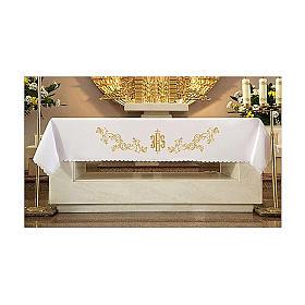 Toalha altar 165x300 cm bordado dourado estilo barroco s1
