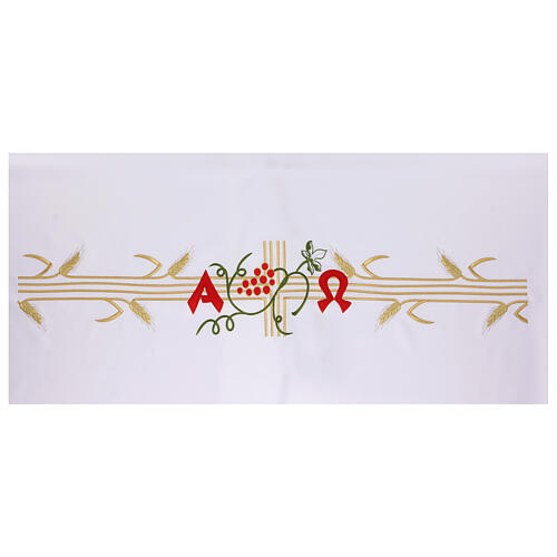 Nappe pour autel 165x300 cm épis dorées raisin rouge 3