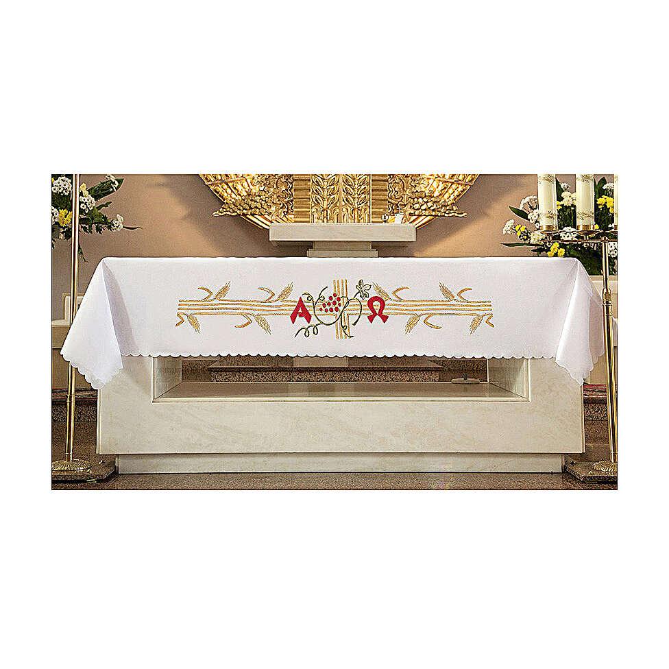 Tovaglia per altare 165x300 cm spighe dorate uva rossa 4