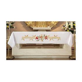 Tovaglia per altare 165x300 cm spighe dorate uva rossa s1