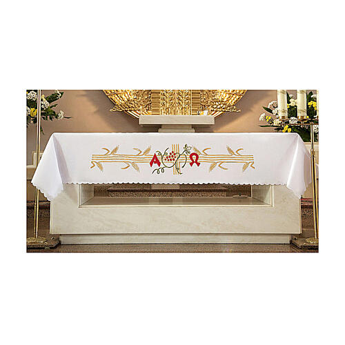 Tovaglia per altare 165x300 cm spighe dorate uva rossa 1