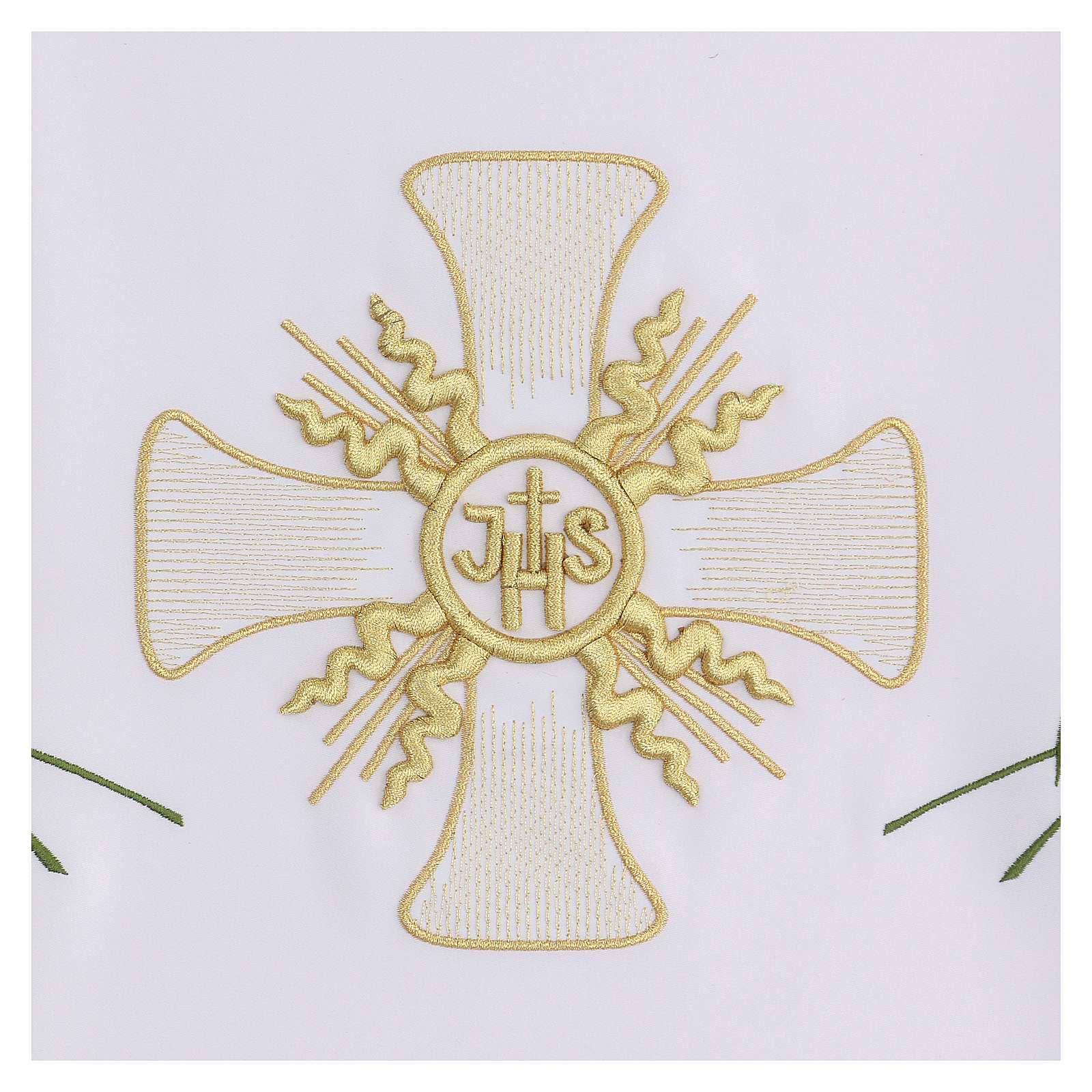 Mantel de altar 165x300 cm con cruz central y espigas 4