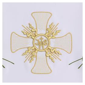 Mantel de altar 165x300 cm con cruz central y espigas s3
