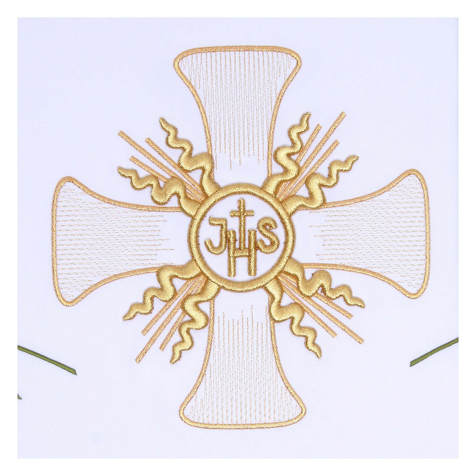 Tovaglia per altare 165x300 cm croce centrale e sei spighe 4