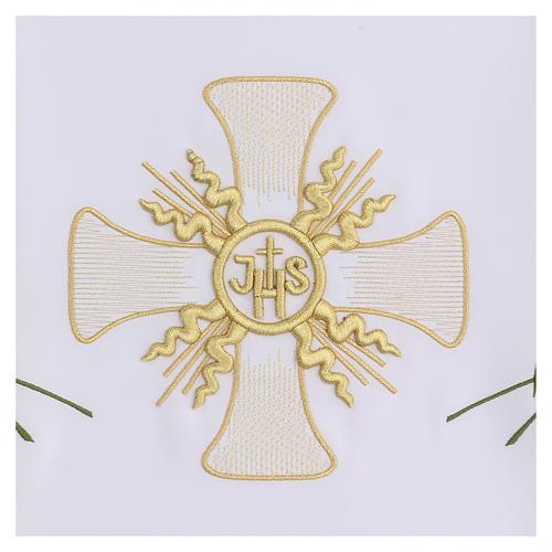 Tovaglia per altare 165x300 cm croce centrale e sei spighe 3
