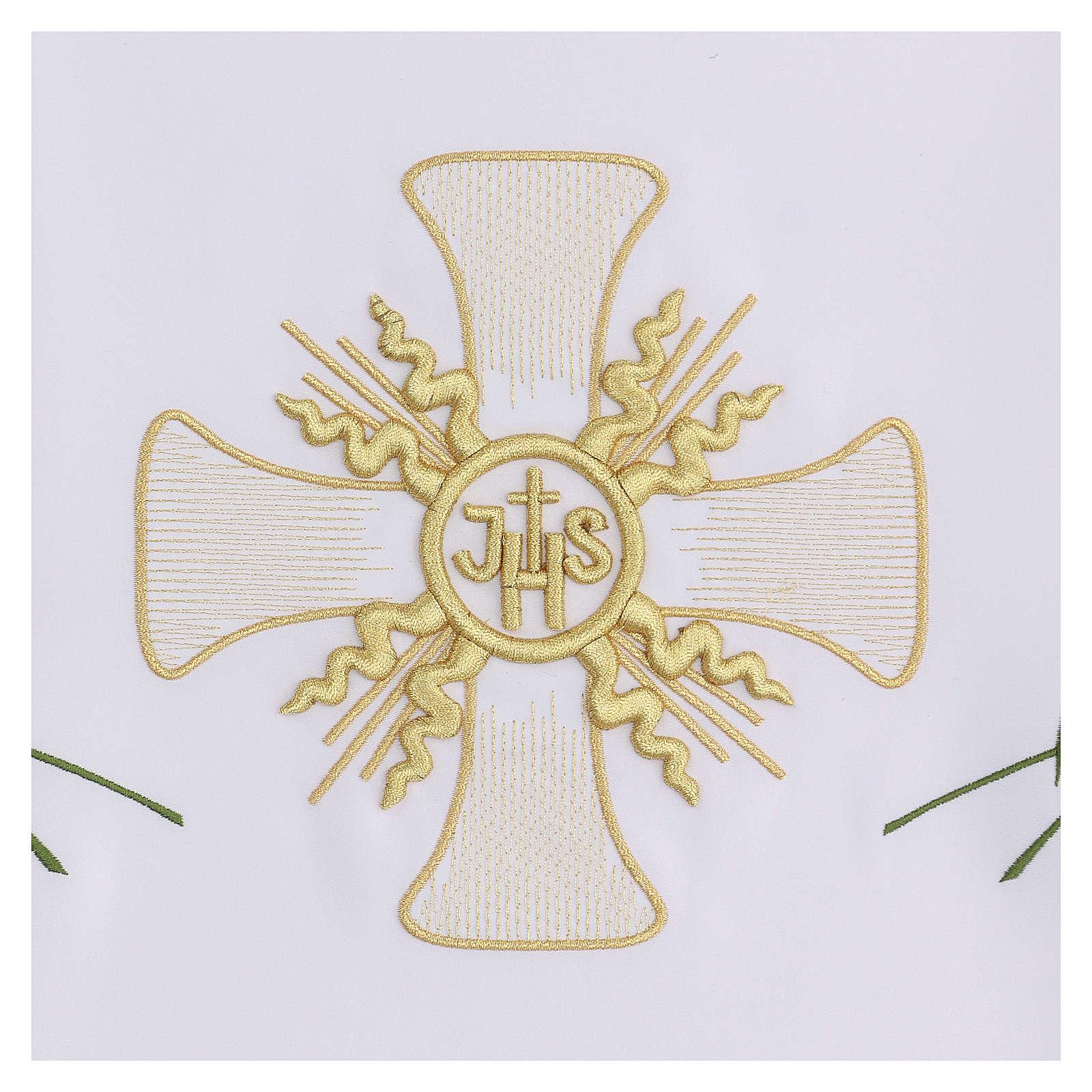 Toalha altar 165x300 cm cruz central e 6 espigas trigo 4