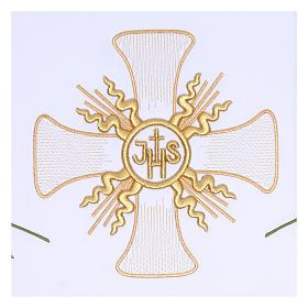 Toalha altar 165x300 cm cruz central e 6 espigas trigo s2