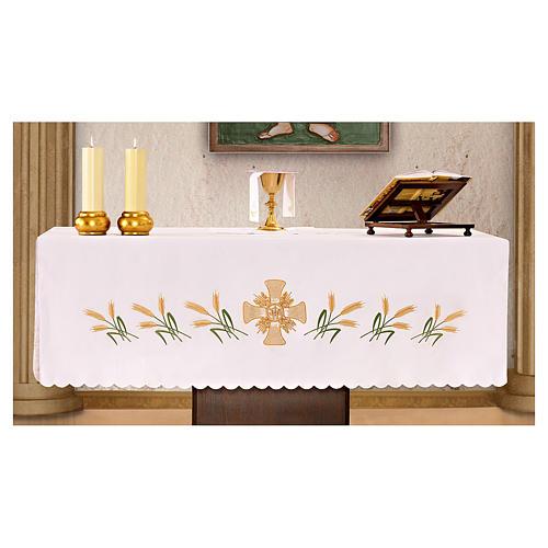 Toalha altar 165x300 cm cruz central e 6 espigas trigo 1