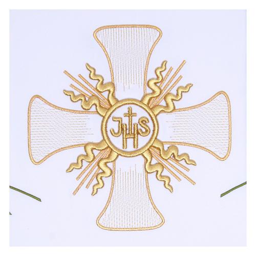 Toalha altar 165x300 cm cruz central e 6 espigas trigo 2
