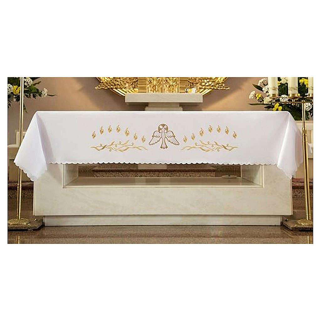 Mantel de altar 165x300 cm con llamas y paloma en el centro 4