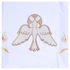 Mantel de altar 165x300 cm con llamas y paloma en el centro s4