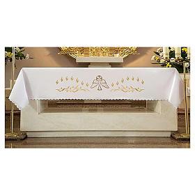 Mantel de altar 165x300 cm con llamas y paloma en el centro s1