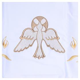 Mantel de altar 165x300 cm con llamas y paloma en el centro s2