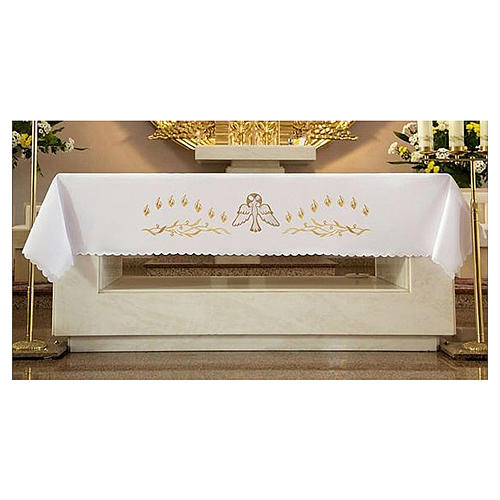 Mantel de altar 165x300 cm con llamas y paloma en el centro 1
