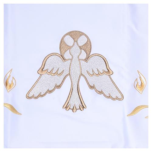 Mantel de altar 165x300 cm con llamas y paloma en el centro 2