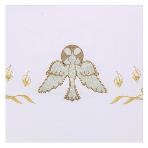 Nappe pour autel 165x300 cm flammes et colombe centrale