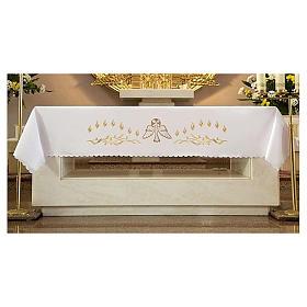Tovaglia per altare 165x300 cm fiammelle e colomba centrale s3