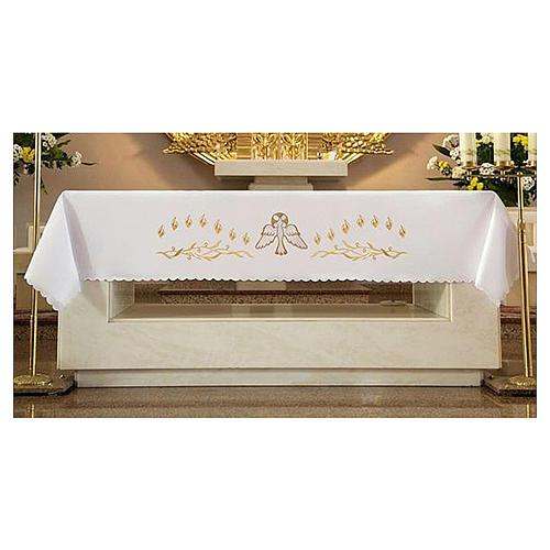 Tovaglia per altare 165x300 cm fiammelle e colomba centrale 1
