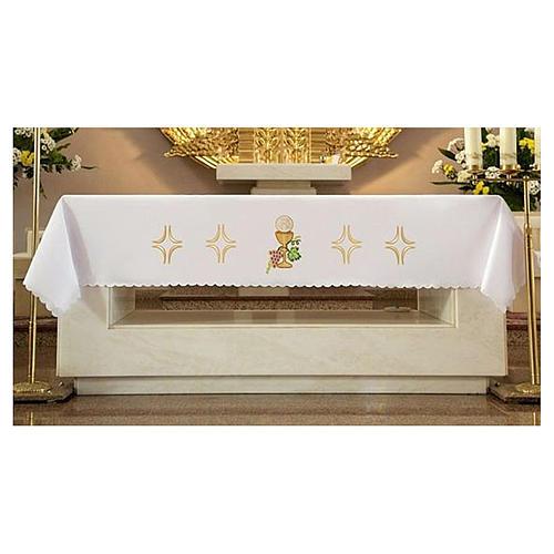 Tovaglia per altare 165x300 cm uva pane vino 2