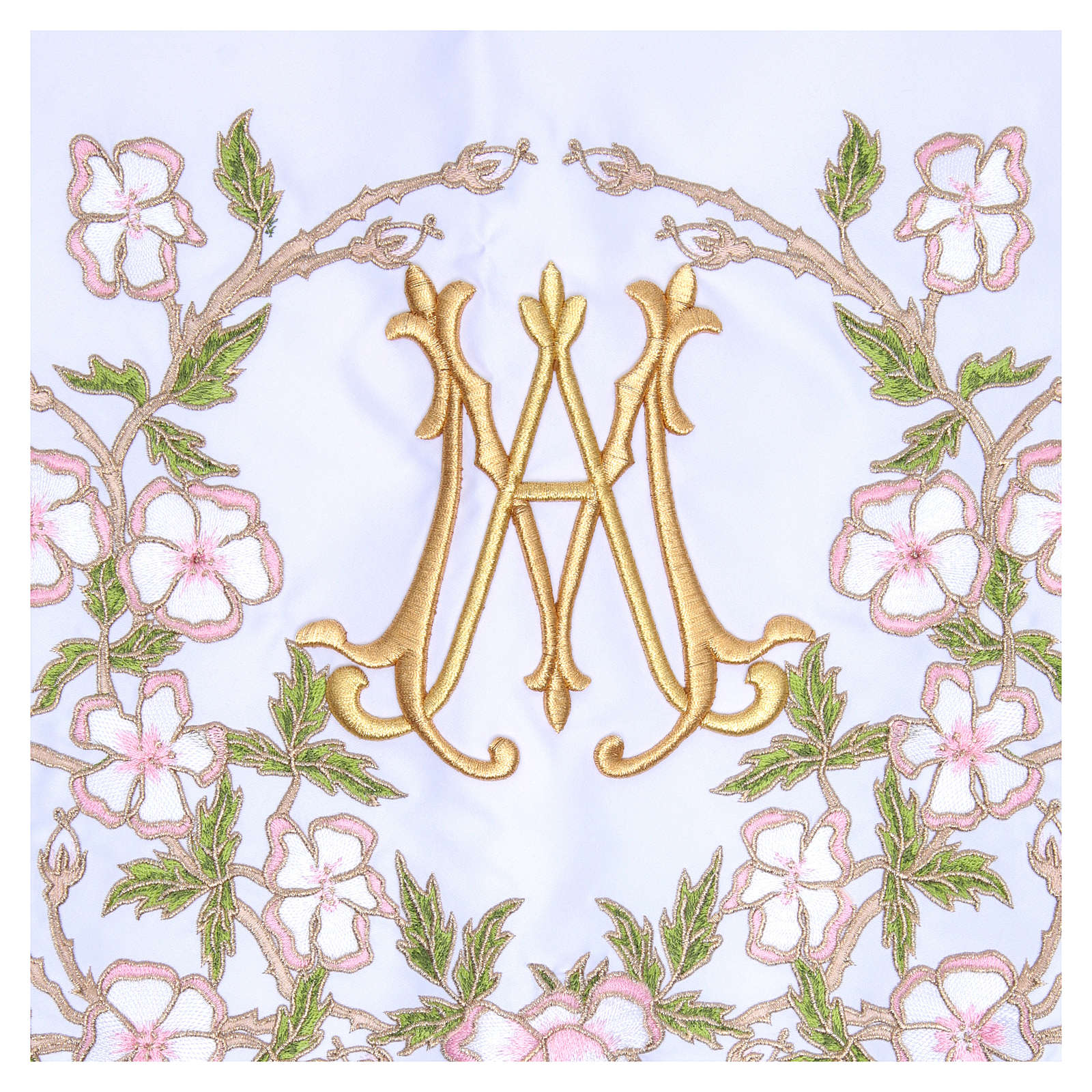 Altar Cloth 165x300cm pink flowers and Marian symbol 4
