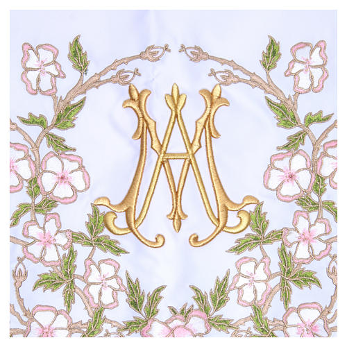 Altar Cloth 165x300cm pink flowers and Marian symbol 2