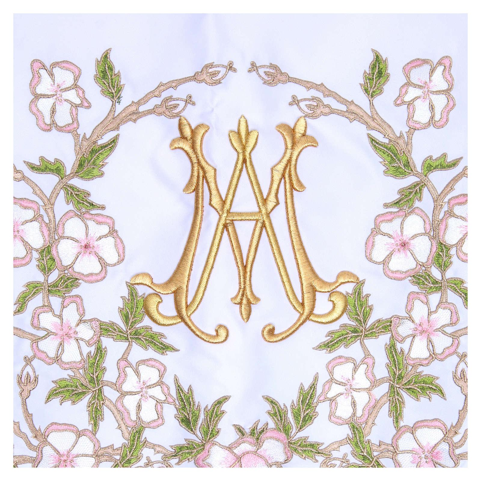 Mantel de altar 165x300 cm flores rosas y Santísimo Nombre de María 4