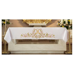 Mantel de altar 165x300 cm flores rosas y Santísimo Nombre de María s1